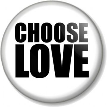 CHOOSE LOVE Pinback Button Badge 1980s style like WHAM's George Michael T-shirt slogan